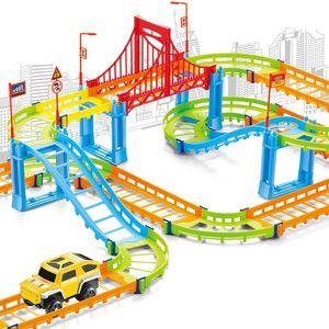 DIY Electric Racing Rail Car Kids Train Track Model Toy Baby Railway Track Racing Road Transportation Building Slot Sets