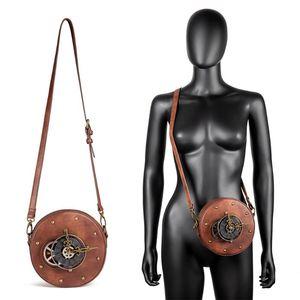Norbinus Женщины Круглых часы Сумка стимпанк Мото Байкер сумка плеча готического Коммуникатор Crossbody Сумка женская Урожай небольшой мешок