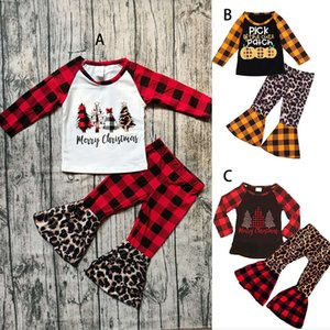 Weihnachten Halloween Kinder Kleidung Sets Kürbisdruck Langarm Top + Plare Plaid Leopard Pants 2pcs / Sets Säuglinge Outfits M2717