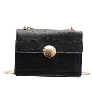 Bolso de las señoras de lujo del hombro Messenger Bag cadena del bolso de la manera simple bolsa de piedra simple de la personalidad salvaje color sólido
