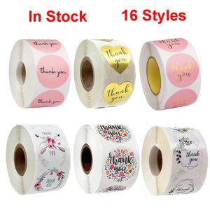 Papel de etiquetas engomadas rosadas de Oro Gracias 500pcs usted pegatina para el álbum de recortes Tarjeta de regalo de boda del negocio de envases de papelería etiqueta