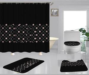 L Harf Şık Duş Ev Dekorasyonu Mat Yumuşak Kaymaz Halı Küçük Çiçek Perde Vintage Izgara Banyo Curtain01 yazdır