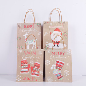 Lovely Christmas Kraft Paper Bags Creative Christmas Gift Packaging Bag Eco-friengly Shopping Bags Portable Holiday Tote Paper Bags VT1670