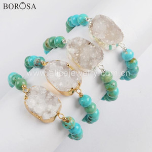 BOROSA 3PCS Gold Silver Plated Natural Agates Druzy With 8mm Turquoises Beads Bracelet Gems Bangle Jewelry G1733 S1733