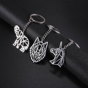 Teamer Stainless Steel Keychain Animal Key-ring Fox Wolf Dog Key Chain Christmas Gifts Tiger Unicorn Jewelry Accessories