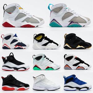 New Kids черного Jumpman 7S Баскетбол обувь молодежь Спортивной обувь большие мальчики красных 7 размера тапок Дети ЕС 28-35 Chaussures де корзины Enfant
