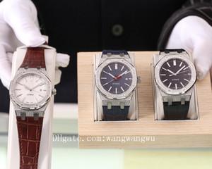 2020 высокого качества королевского дуба офшорных мужчины полные алмазов часы AP кожа наручные часы каучукового ремешок резиновые мужские часы D1100