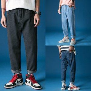 Ins Hosen Herren-koreanischen Stil Anhänger jeansjeans und jeanstrendy Marke Loch Wide Leg 9-Punkt-Jeans chic lose gerade Anhänger dad Hose der Männer