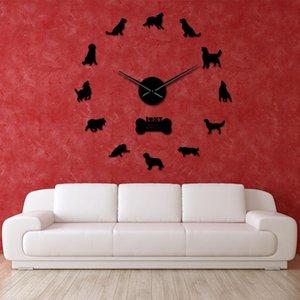 Parede Frameless parede Relógio de parede do cão Retriever Dog gigante Adesivos Ouro DIY relógio de arte Pet Retriever Espelho animal Relógio uBgGs home_hot