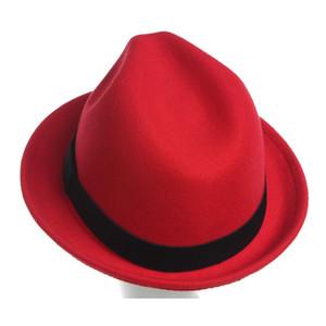 Los sombreros de ala de sombrero del hombre para el hombre Jazz Otoño Invierno punto unisex cinturón de ala del color puro al aire libre a prueba de sombreros fríos De reunió sombrero es