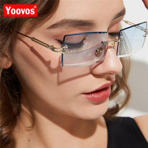 Gradient Sonnenbrille Square Frauen Marke Yoovos Feminino Sonnenbrille Designer Vintage Frauen Randlos Jkjid