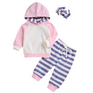 Newborn Baby Boys Girls Home pajamas Fall Girl clothing set Hooded Sweatshirt Pants Striped hoodie Infant kids clothes Baby Set