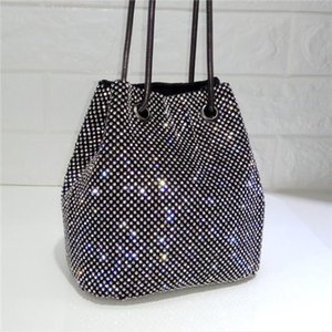 2020 New Black and Silver Super Flash Rhinestone Bag Bucket Bag Women Purses and Handbags