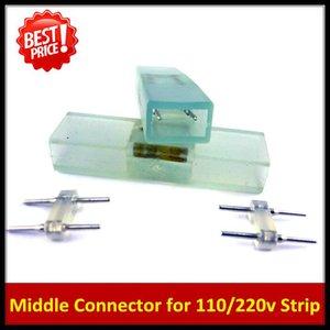 Cgjxs 10pcs 2pin Middle Connector For 110v 220v 3528 5050 Single Color Led Strip