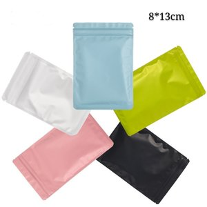 8*13cm 100pcs Colorful Self Seal Zip Lock Food Package Bags Resealable Gift Storage Mylar Puches Bags Crafts Packing Bags Smellproof