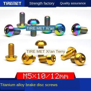 xEb9f Titanium aleación Aleación Color freno de disco de freno tornillo de cabeza M5x10 / 12 disco ciruela T25 titanio tornillo de ánodo de color