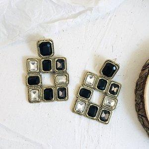 Declaración de la casilla blanca Negro de la vendimia pendientes de gota pendientes para las mujeres geométrica de gran temperamento 2020 nueva joyería de moda
