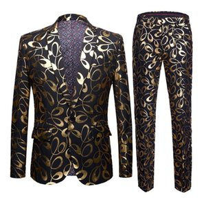 Plus Size 5XL Brand New Tide Male Gold Floral Pattern Slim Fit Mens Suits With Pants Wedding Groom Tuxedo Singer Costume
