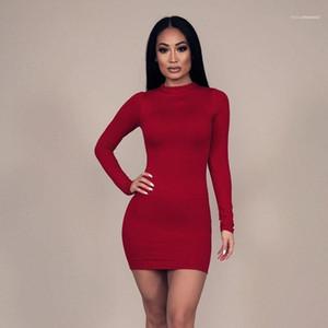 Осень Solid Color Высокий воротник с длинными рукавами дизайнер дамы платья Женщины Новая мода Zipper оболочки платье