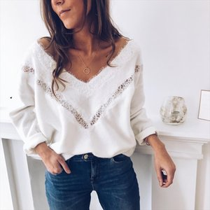 Lace Openwork Sweater Women V Neck Sexy White Red Black Jumper Autumn Long Sleeve Female Knitted Pullover Sweater pull femme D30