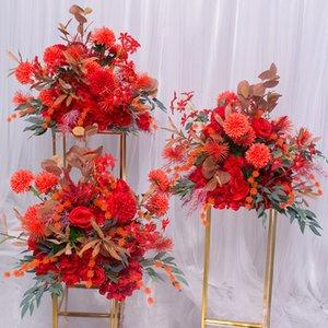 SPR 35см красный свадебный стол центр цветок фон мяч искусственный Flore центральная партия домой событие цветок украшения