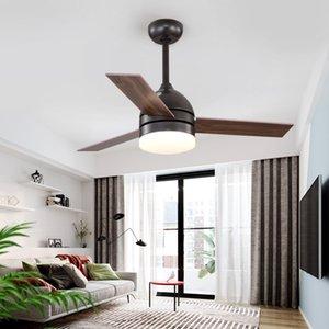 IKVVT Современный Потолочный вентилятор с легкой промышленности Вентилятор Свет 42/48 дюймов Деревянные лезвия Dimming лампы Ventilador De Teto AC220V