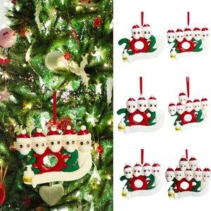 2020 DIY Nome Bênçãos macia argila máscara da árvore de Natal do boneco de neve pendurado pingente personalizado Ornamento de suspensão do Natal Decor DDA520
