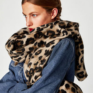 Design Leopard Print Imitation Cashmere Scarf 180*90cm Autumn and Winter Printed Scarves Warm Scarf Shawl for Women Christmas Gift