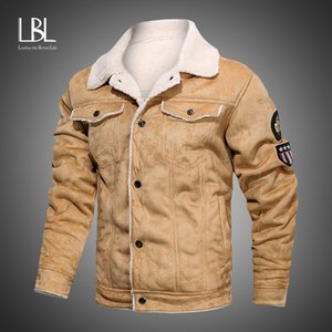 2020 New Mens Leather Jacket Juvenil Masculino além de veludo lapela Moda Outono Marca Motorcycle Tops inverno quente PU Faux Fur Coats Homens