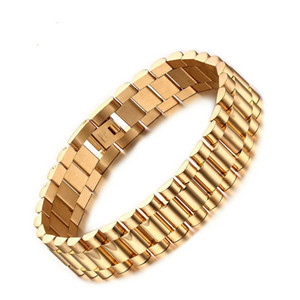 15mm Luxury Men Watch Band Bracelet Gold Plated Stainless Steel Strap Links Cuff Bangles Jewelry Gift 22CM r01
