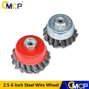 CMCP Metal Döner Dayanıklı Pas Temiz Çelik Tel Tekerlek 2,5-6 inç düz Kupası Knot Kırmızı Güçlü Çapak alma Taşlama Brush çevirin