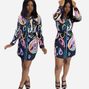 Colorful Printing Women Designer Shirts Sexy Lapel Neck Clothing New Arrival Summer Womens Loose Blouses Fashion
