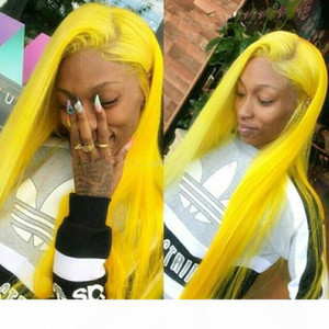 Celebrity Wig Full Lace Wigs Blue Color Silky Straight Yellow Color 10A Virgin Malaysian Human Hair Front Lace Wigs for Black Wig