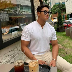 Hot Sale Mens Casual short sleeves t shirt Gyms Fitness T-shirt Male Training Workout Cotton Slim Tees Tops New White