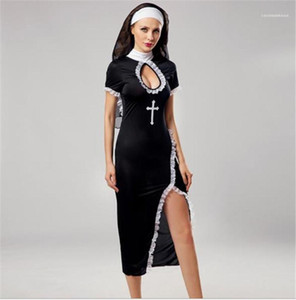 Costumes Halloween Cross Printed Sexy Split Dresses Props Short Sleeve Party Stagewear Nun Cosplay Womens