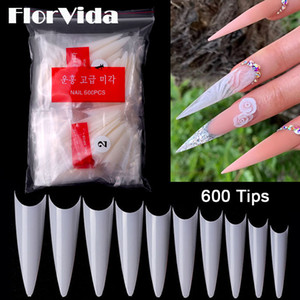 FlorVida 600 Tips Set Nail Art False Nails Kit Bagged French Styles Long Sharp Acrylic For Finger Manicure Design High quality