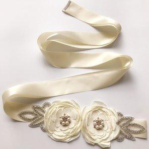 Ladies Bridal Belt Pearl Floral Sash Rhinestone Beaded Ribbon Waistband Bridal Ribbon Cummerbunds Wedding Prom Dress Waist Belt