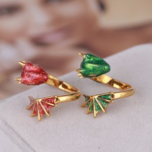 luxury designer jewelry women rings black knight dragon rings enamei triceratops hip hop openings rings for men gold plated green red pink