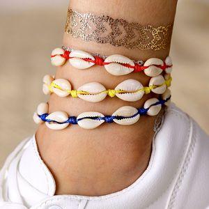 KISSWIFE NEW Bohemian Shell Beads Anklets for Women Vintage Beach Shell Woven Bracelet Summer Beach Foot Jewelry