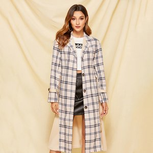 2020 Autumn Women Plaid Print Patchwork Trench Coat Casual Loose Vintage with belt Outerwear Lady Trench Tops