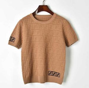 nouveau bloc de couleur manches style collège des femmes de la mode courte o-cou logo tricot lettre tissage jacquard évider pull T-shirt