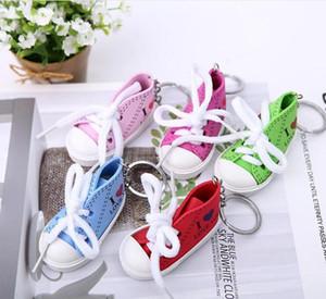 Atacado mini sapatos de lona tênis chaveiros Chaveiro Creative Chaveiro Chaveiro Simulação Esporte Sapatos Engraçado Keyring Pingente Presente GWC734