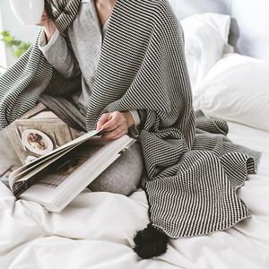 130x160cm, Cotton Knitted Blanket Black Stripe Four Corner Hanging Ball Blanket New Knitting