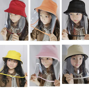 Newest Designer Dustproof Protection Cover Hats Detachable Shield Party Hat with ProtectiveTransparent Mask for Kids 3-8T