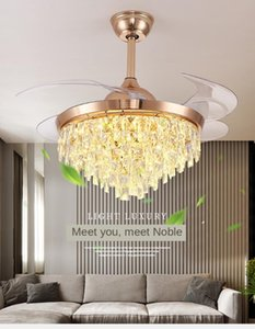 110V   220VLED Crystal Invisible Ceiling Fan Light Restaurant Light Luxury Home Frequency Conversion Ceiling Fans with Lights