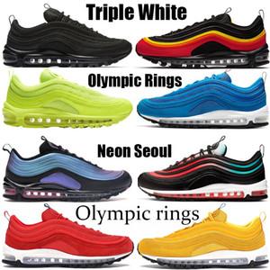 1997s el envío libre de los zapatos de las mujeres OG bala de platino puro invicto Triple amortiguador blanco al aire libre respirable las zapatillas de deporte