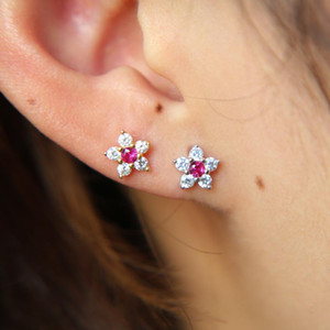100% 925 sterling silver simple daisy flower 6pcs sparking cubic zirconia tiny cute flower spring gilr minimalist cz earring new