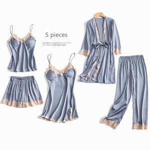 5 Parça Pijama Set Seksi Dantel Saten Ipek Pijama Kadınlar Yaz Bahar Moda Pijama Kadınlar için Robe Sleep Lounge XRXTB