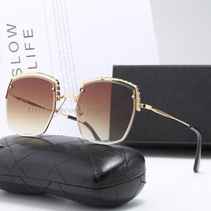 New Fashion Designer Sunglasses Sunglasses Metal Trend Semi-frame Uomini e donne Occhiali da donna Anti-Glare Lady Sunglasses 6 colori con scatola