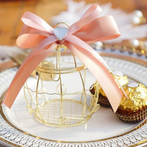 Мини Металл Золото Урожай ретро Bird Cage конфета коробка Baby Shower Фавор Подарочная коробка для гостей дня рождения Souvenir